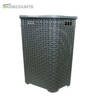 60L Large Rattan Plastic Laundry Bin Washing Bin Multi Storage Basket  Grey