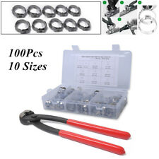 100Pcs 10 Sizes Stainless Steel Single Ear Hose Clamps w/Clamp Pliers Pincer Set