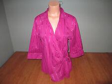New Womens Size XL Studio 1940 Pink Metallic Stripe Wrap Tie Front Shirt Top