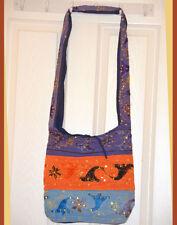 Hand Made Embroidered Sequin Sling Bag, Shoulder Bag, College Bag Orange, Blue