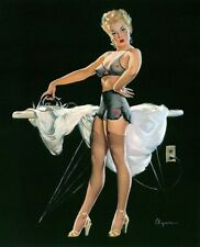 Gil ELVGREN Pinup PRESSING DETAILS Original Painting UPSKIRT Pin-Up Stockings (c