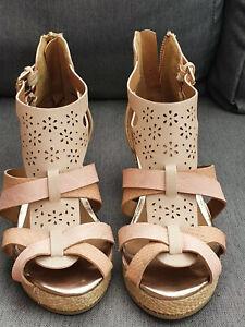 🌟🌟 RIVER ISLAND Gladiator Straw Wedge Espadrilles Sandals Shoes Gold UK2 Pink