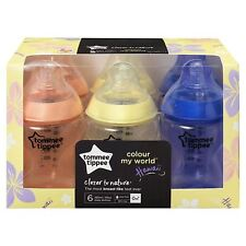 6 x Tommee Tippee Baby Feeding Bottles Colour My World 260ml, Pink Yellow Purple