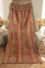 Curtain Drape Antique French linen 1890 Pink floral faded shabby chic (1 of set)