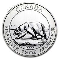2013 Canadian Polar Bear, 1.5 Ounce .9999 Silver Coin, 1 Bright Flashy Coin!