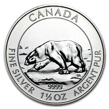 2013 Canadian Polar Bear, 1.5 Ounce .9999 Silver Coin, 1 Bright Flashy Coin!