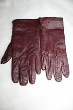 LADIES BURGUNDY M&S LEATHER GLOVES  SIZE S M USED GOOD CONDITION