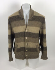 Vintage Tundra Cardigan Sweater Men's Large Brown Suede Elbow