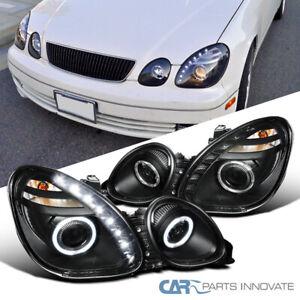 Fit Lexus 01-05 GS430 GS400 GS300 LED Halo Projector Headlights Lamps Black Pair