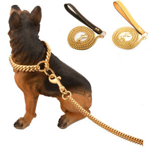 New Portable Gold Chain Handle Pet Leash Rope Stainless Steel Leather Dog Leash
