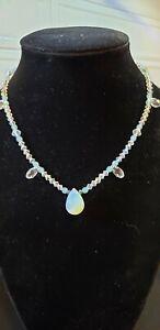 Pretty Blue Bead Teardrop Necklace
