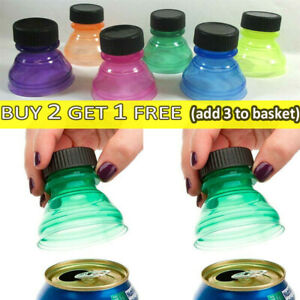 Reusable 6Pack Soda Can Savers Pop Drink Covers Lid Protector Spill Free Bottles