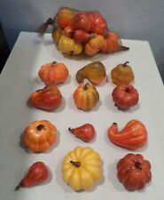12 PC SM PUMPKINS GOURDS DARK FALL COLORS HOME DECOR THANKSGIVING CRAFTS NEW