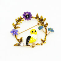 Women's Enamel Crystal Flower Wreath Bird Charm Betsey Johnson Brooch Pin Gift