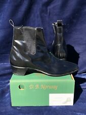 VTG Beatle Beat Boots 11.5 11 1/2 Real Leather USA Made Chelsea Cuban Heeled
