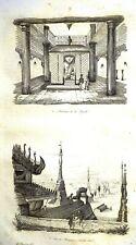 BURMA - MYANMAR  VIEWS - COSTUMES  Original 1834 Antique Prints set of 5