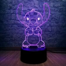 3D LED Stitch Night Light, Illusion Acrylic USB Touch Lamp New - FAST DISPATCH