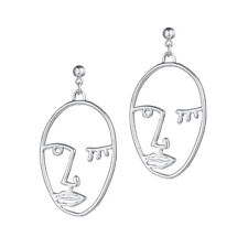 Hollow Vintage Abstract Face Hand Cutout Ear Stud Dangle Drop Earrings Jewelry
