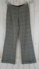 Trina Turk Pants 2 Black White Checked Wool Poly Lycra Lined Wide Leg Cuffed