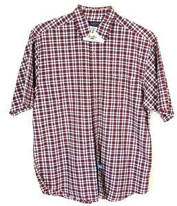 Austin Men's Work Shirt Size L Button Down 100% Cotton Red Plaid Short Sleeve