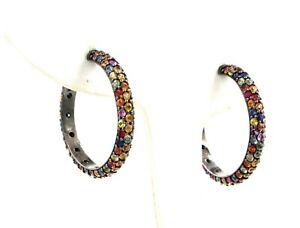 Matthew Campbell Laurenza MCL Sterling Silver Sapphire Multi-Color Hoop Earrings