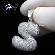 """MEN 925 STERLING SILVER LAB DIAMOND ICED BUBBLE INITIAL LETTER """"S"""" PENDANT*SP203"""