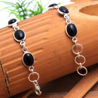 "Handmade Black Onyx Oval bracelet 925 sterling silver Designer jewelry 7.75"""