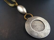 """Mixed Metal Etched Silver Brass Bohemian Necklace 23"""" Free Shipping NS247"""