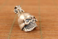 Rare Chinese old S925 Solid silver Skull pendant 14g Used collection gift Art