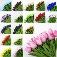 10Pcs Artificial Fake Flower Real Touch Tulips Bouquet Home Bridal Wedding Decor