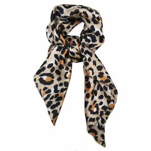 Big Square Leopard Animal Print Head Bandana Neck Thin Faux Silk Scarf 70cmx70cm