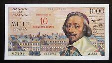 """10 Nouveaux Francs / 1000 Francs  """"Richelieu"""" - 7 mars 1957"""