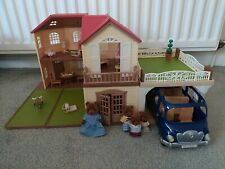 Sylvanian Families Maple Manor & Carport & Bluebell Bus & 4 Figures  - Pre-owned