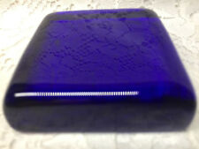 Cobalt Blue glass picture flat square paperweight royal clear art lens glassware