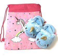 New Toddler Unicorn Slippers Blue Soft Plush Small (8/9) Bag Bundle