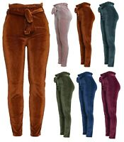 New Ladies Corduroy Paper Bag Tapered Pencil Slim Fit Trousers Womens Pants