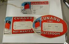 3 Cunard Cruise Ship Lines Luggage Tags Stickers 1950's