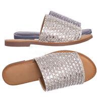 Newly Rhinestone Crystal Slide-On Slipper - Women Embellished Flat Mule Sandal