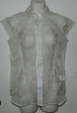 Women New York & Co 100% Silk Cap Sleeve Ivory Sheer Button Down Shirt S