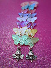 Multi Color Prism Sequin Butterfly and Bee Long Earrings 5 Inches long USA