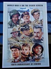 SELLOS TEMA CINE. GUYANA 1997 4232/0 9v.MH. CENTENARIO CINE. WORLD WAR II GARY