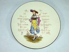 Seltener Teller mit Spruch um 1860 Keramik Mettlach Sarreguemines ?