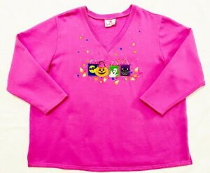 Quacker Factory 2X Halloween Sweatshirt Pink Embroidered Appliques Rhinestones