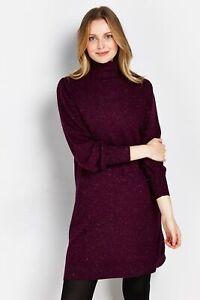 Wallis Womens Red Sparkle Knitted Glitter Jumper Dress Long Sleeve High Neck
