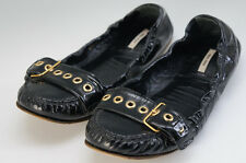 Authentic Miu Miu Ballet Shoes US Size:6 Enamel Black 617f17
