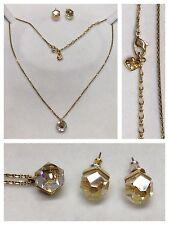 Swarovski cadena con colgante y pendientes bañado en oro joyas de marca PIEDRA