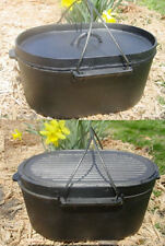 Cast iron Oval Roaster Self-basting lid Dutch Oven Cookware Camp Pot