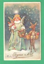 1926 COLOMBO CHRISTMAS ART POSTCARD CHRISTKINDLE DEER BASKETS TOYS DOLLS STARS