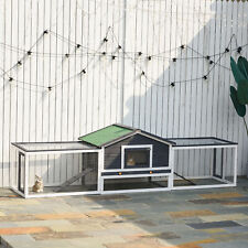 Double Level Rabbit Cage Exclosure w/ Ramp Run, Asphalt Roof for Outdoor Use