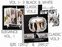 "Photoshop Wedding Photo Album Templates PSD 12x12"" ,24x12"" Invitations & DVD"